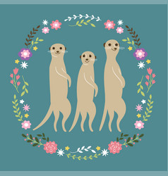 Cute meerkats vector