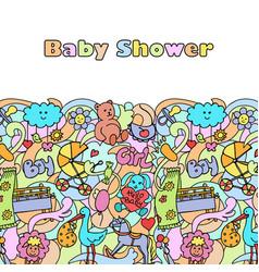 Doodle baby shower mock up vector