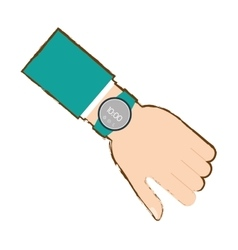 Hand with smart watch timer technology vector