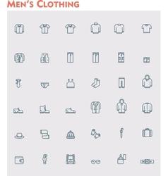 Linear men clothes icon set vector image vector image