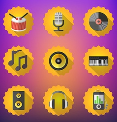 Music Flat Icon Set Include speaker mic vinyl mp3 vector image vector image