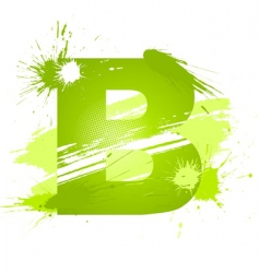 paint splashes font letter b vector image vector image