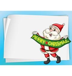 paper sheets and santa claus vector image