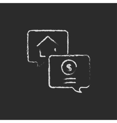 Real estate transaction icon drawn in chalk vector
