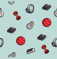 fitness color outline isometric pattern vector image