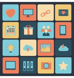 Flat set of modern icons vector image vector image