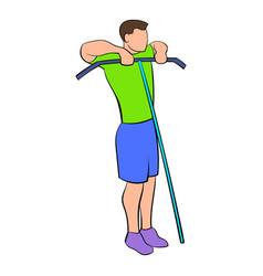 man exercising on cable machine icon cartoon vector image vector image