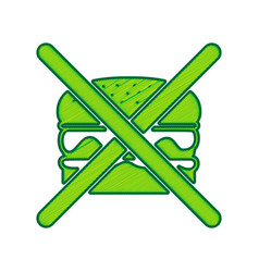 no burger sign lemon scribble icon on vector image vector image