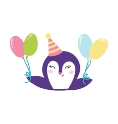 Penguin holding balloons vector image