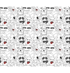 Seamless pattern with abstract monsters vector image