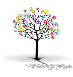 silhouette of the tree-paw print vector image