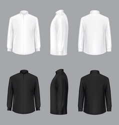 white male shirt with long sleeves and buttons vector image