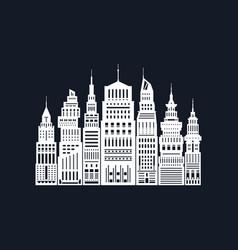 White silhouette modern big city vector