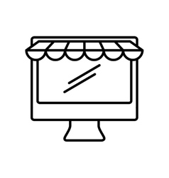 Desktop computer technology isolated icon vector