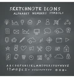 Doodle Icons on Blackboard vector image