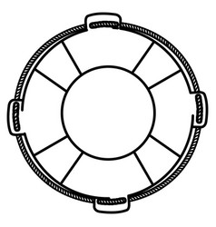Monochrome silhouette of flotation hoop with rope vector