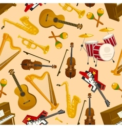 Musical instruments seamless pattern vector image vector image
