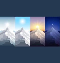 nature mountain set a midday sun dawn sunset vector image