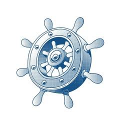 Ship wheel marine tattoo vector image vector image