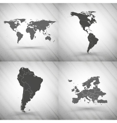 World maps set on gray background grunge texture vector image