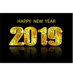 2019 new year a glossy voluminous inscription and vector image
