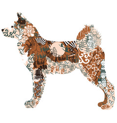 akita dog on a white background vector image