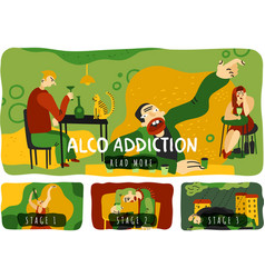 Alcohol addiction horizontal banners set vector