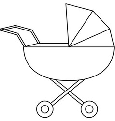 baby pram symbol in black and white vector image