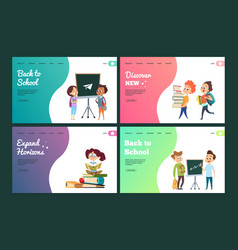 back to school landing page set web vector image