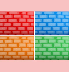 Background template with brickwalls in four vector