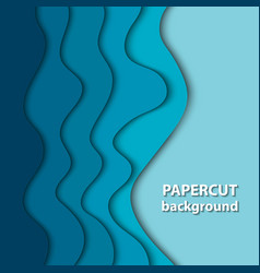 background with deep blue color paper cut shapes vector image