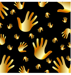 Background with golden hands vector image