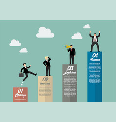 Bar graph infographic with businessmen in various vector image vector image