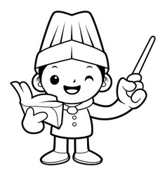 black and white head cook mascot give a lecture vector image