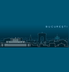 bucharest multiple lines skyline and landmarks vector image