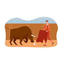 bullfighting composition with toreador and bull vector image