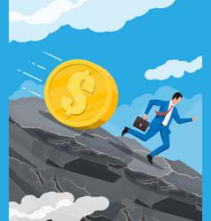 Businessman running away from big debt weight vector