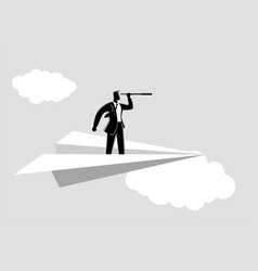 businessman using telescope on paper plane vector image