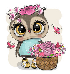 Cartoon owl with flowers on a white background vector