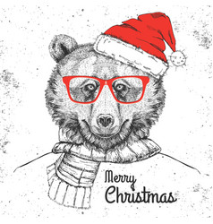 Christmas hipster fashion animal bear vector