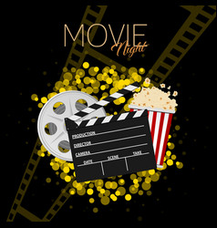 Cinema and movie night black background one vector