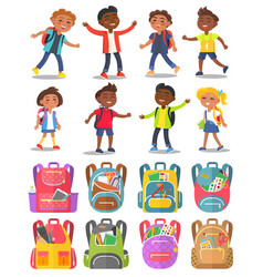 Classmates and backpack sticker school vector