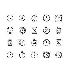 clock line icons time management and schedule vector image