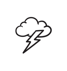 cloud and lightning bolt sketch icon vector image