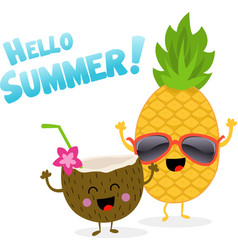 Coconut and pineapple celebrating summer vector