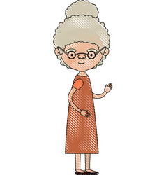 color crayon silhouette of full body elderly woman vector image