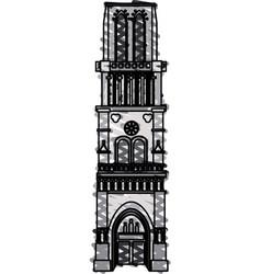 Color crayon stripe cartoon building architecture vector