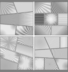 Comic monochrome design backgrounds set vector