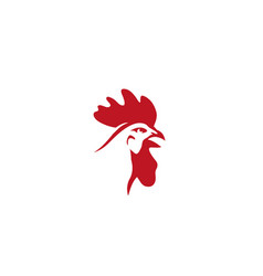 creative red rooster head logo design symbol vector image