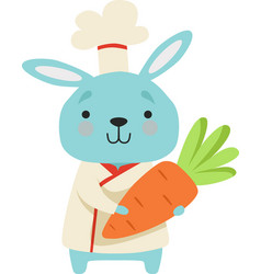 cute bunny in chef uniform holding carrot cartoon vector image